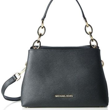 LMFON MICHAEL MICHAEL KORS Portia small saffiano leather shoulder bag Black
