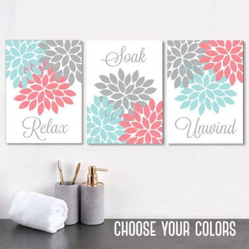 Aqua Coral Gray BATHROOM Wall Art, CANVAS or Prints, Floral Bathroom Decor, Relax Soak Unwind, Floral Bathroom Pictures, Set of 3 Artwork