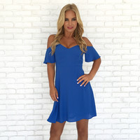 Leaps & Bounds Off Shoulder Skater Dress In Blue