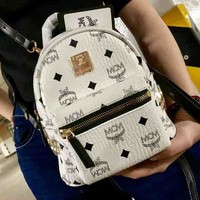 MCM Fashion New fashion print women backpack bag White