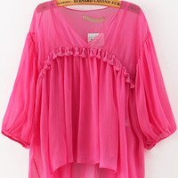 Red V-Neck Tassel Cuff Sleeve Pleated Blouse