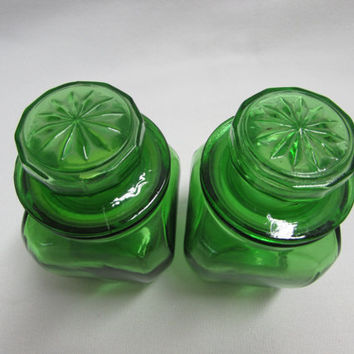 Vintage Apothecary Jars Green Glass Spice Jars