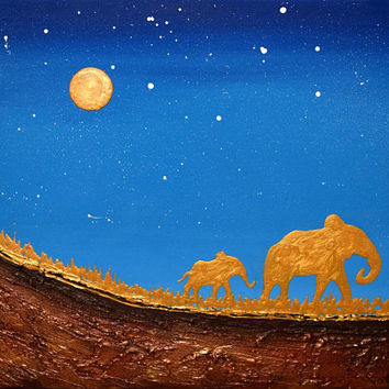 elephant wall art original good luck animal africa art landscape painting canvas wall nursery gold contemporary animal 16 x 20""