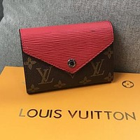 LV Louis Vuitton Stylish Women Chic Leather Purse Wallet Red