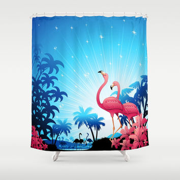 Pink Flamingos on Blue Tropical Landscape Shower Curtain by Bluedarkat Lem