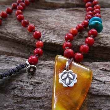 Baltic Amber ~ Red Coral ~ Turquoise ~ Karen Hill Tribe Silver ~ Glass ~ Gia Necklace Positive Energy Protection Healing