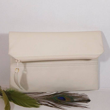 Vanilla wedding clutch for bride, Evening clutch bag, foldover leather clutch, cream leather purse, bridesmaids gift, wedding clutch vanilla