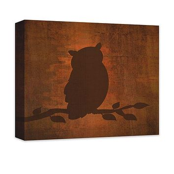 Owl on a Branch Canvas Wall Art