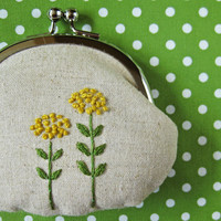 Yellow spring flowers on linen coin purse