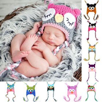 New Cute Baby Hat Winter Crochet Custom Handmade Knitted Infant Toddler Baby Hat Owl Newborn Photography Prop