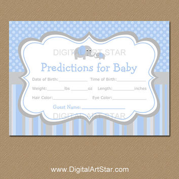 Elephant Baby Predictions Baby Shower Game - Printable Baby Predictions Game - Party Game - Blue and Grey Elephant Game - INSTANT DOWNLOAD