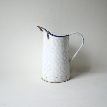 antique french enamel pitcher, pitcher with white and blue chickenwire pattern, french home decor, enamelware pitcher, vitreous enamel