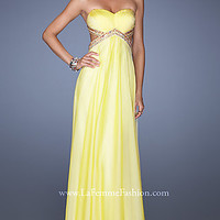 Strapless Open Back Gown by La Femme