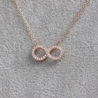 MagicPieces Micropave Setting of AAA Quality White Clear CZ Stones Thin Chain Love Infinity Pendant Necklace Short Collarbone Necklace Wish Necklace Rose Golden Color 18K Gold Plated Gift for Her JDP0516