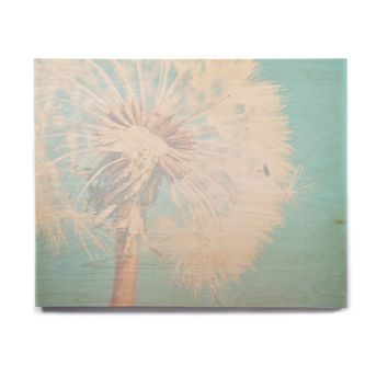 "Sylvia Coomes ""Aqua Dandelion"" Photography Floral Birchwood Wall Art"