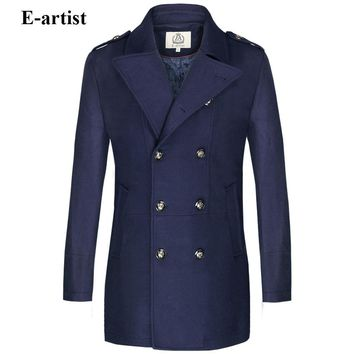 E-artist Mens Long Double Breasted Wool Trench Coat Male Warm Winter Peacoats Jackets Outerwear Overcoats Plus Size 5XL N37