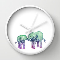 Baby Elephant Love - ombre mint & purple Wall Clock by Perrin Le Feuvre