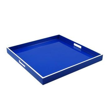 True Blue with White Trim Lacquer Large Square Serving Tray