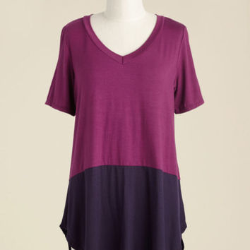 Like a Daydream Tunic in Magenta | Mod Retro Vintage Short Sleeve Shirts | ModCloth.com