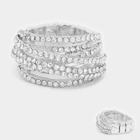 """ Tempt "" Peek A Boo Pave Clear Crystal Rhinestone Pave Stretch Cocktail Ring On Silver Tone"