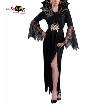 Cool Women Vampire Costume Girl Witch Dress Adult Gothic Dark Queen Cosplay Cobweb Spider Fancy Dress for Carnival Halloween CostumeAT_93_12