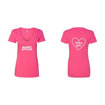 "Harry Styles ""HS / Adore You Heart BACK"" V-Neck T-Shirt"