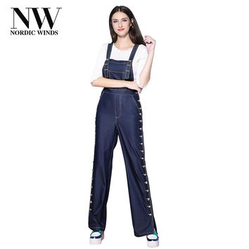Nordic Winds Jumpsuits Denim Overalls Women Rompers Long Spaghetti Strap Elegant Party Autumn Jumpsuit Jeans 2017 Newest Design