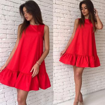Fashion Female Summer Dress 2019 Casual Club Dresses Red Pink Sleeveless Women Dress Vestidos Pleated Mini Dress Women Clothing