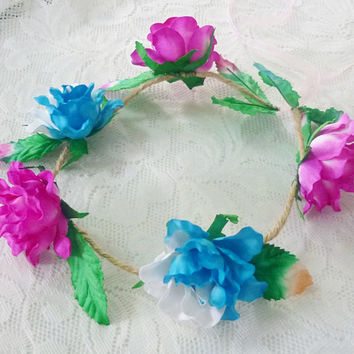 Pink blue rose leaves flower crown Large rose  headband /Festival flower crown /floral headpiece/ flower crown ribbon tie back