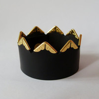 Golden Crown Black leather cuff bracelet wrap wristband with gold color copper angles