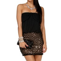 Black Bow Bloussant Sequin Dress