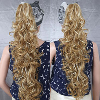 Fake Pony Tail Hair Extension Synthetic Long Wavy Curly Elegant Claw Clip in Ponytail  Clip In Hair Extension For Woman