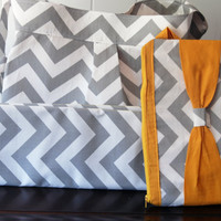 Chevron SET Diaper bag with Mustard Yellow