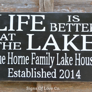 Lake House Personalized Family Name Sign Established Date Life Is Better At The Lake Decor Quote Sayings Wood Plaque