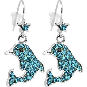 Sparkling Sea Blue Crystal Dolphin Earrings