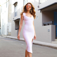 Fashion Sleeveless Tight Solid Color Split Pack-hip Mini Dress