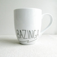 "Coffee Mug - ""BAZINGA"" Mug - The Big Bang Theory Coffee Cup - Sheldon Cooper Mug - Tea Cup - Black and White Mug"