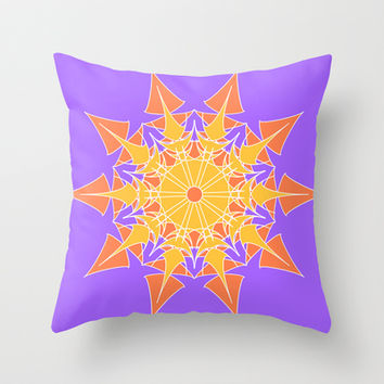 Artistic orange star on violet Throw Pillow by cycreation