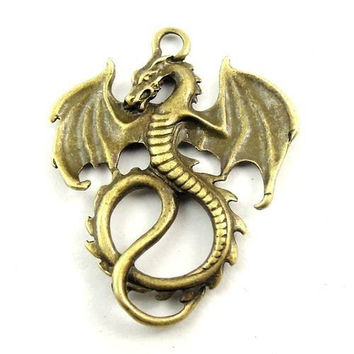 2 Bronze Dragon Charm Connector Pendants Fantasy Medieval 108A