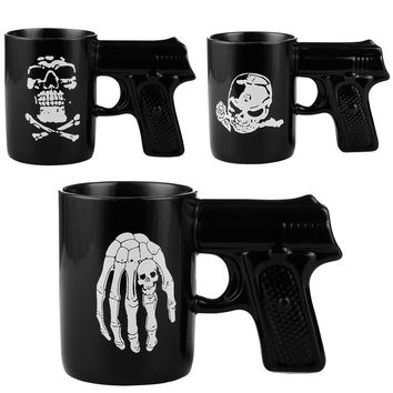 Gothic Personalized Skull Mug Black Ceramic Coffee Mug Coffee Tea Beer Drinkware 480ml