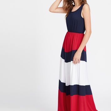 Multicolor Color Block Sleeveless Tank Long Dress