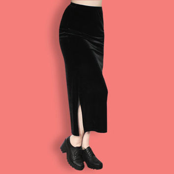 90s Black Velvet Skirt - Grunge Velvet Skirt - Witch Goth Maxi Skirt - Clueless Column Skirt - Club Kid Skirt - Normcore Minimalist Skirt