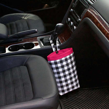 Car Trash Bag ~ Black and White Plaid ~ Hot Pink Band ~ Gearshift Handle ~ Standard Lining