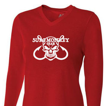 Womens Tri-blend Performance Shirt - Skull Hooks