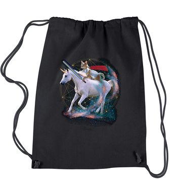 Cat Riding A Unicorn Drawstring Backpack