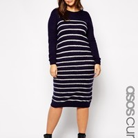 ASOS CURVE Midi Sweater Dress in Brushed Stripe