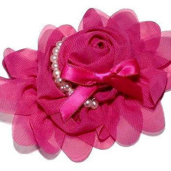 "Hot pink 4.5"" X 4"" chiffon rolled rose with pearl stands"