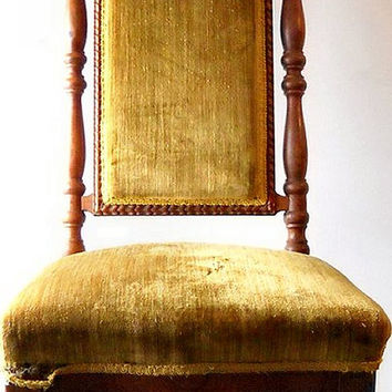 Victorian Revival Parlor Chair, High Back Gentleman's Chair, Late Gothic, Bishop Throne, Hall Chair