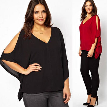 Summer Cosy Loose Chiffon Bat Sleeve Top For Women +Necklace
