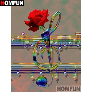 5D Diamond Painting Music Note Rose Vase Kit